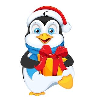 Weihnachtspinguin mit geschenkbox