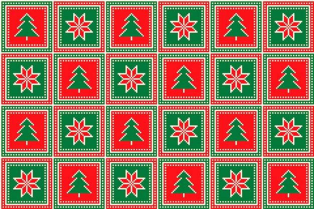 Weihnachtspixelmuster mit weihnachtsbäumen und sternenverzierung