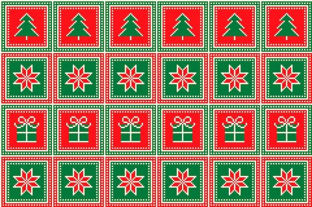 Weihnachtspixelmuster mit weihnachtsbaumsternen und quadratischem ornament in geschenkbox