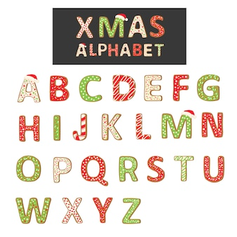 Weihnachtsplätzchen-alphabet getrennt auf weiß