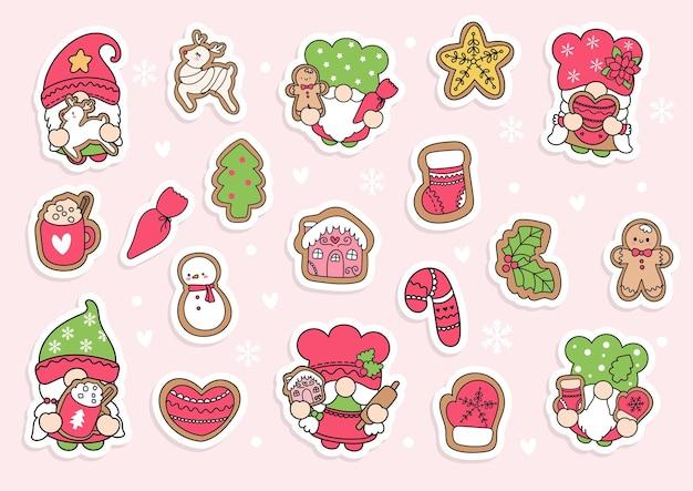 Weihnachtsplätzchen-gnome-aufkleber-planer und sammelalbum
