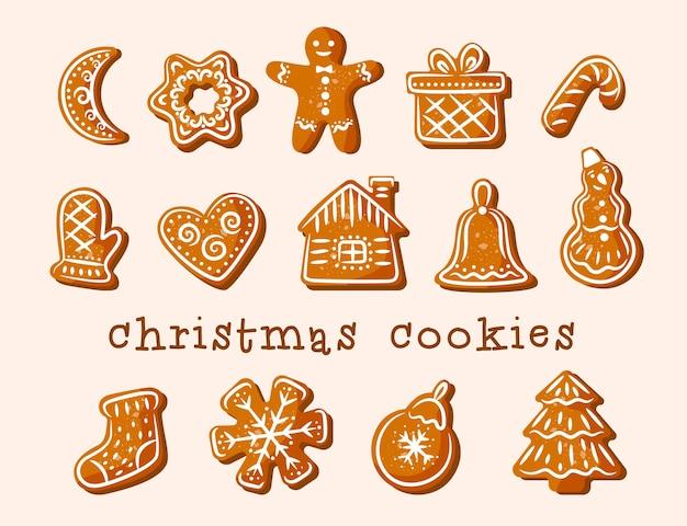 Weihnachtsplätzchen. lebkuchen. köstliche figuren mit weißer glasur verziert.