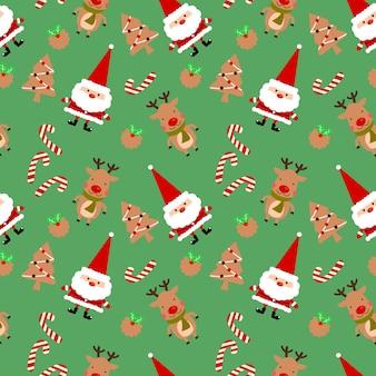 Weihnachtsplätzchen und nettes nahtloses muster weihnachtsmanns.