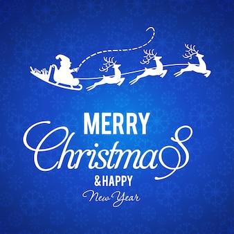 Weihnachtsplakat, das blauen hintergrund mit kreativer weißer typografie hat.