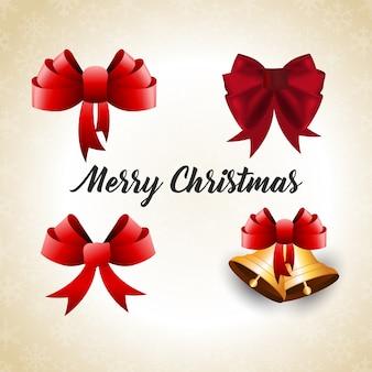 Weihnachtsplakat, das realistische bänder und glocke und typografie des weihnachten auf hauthintergrund hat