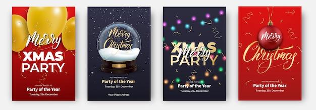 Weihnachtsplakat eingestellt für frohe weihnachten mit weihnachtsbeschriftung