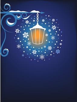 Weihnachtsplakat, fahne oder grußkartenhintergrund mit einer magischen laterne und schneeflocken.