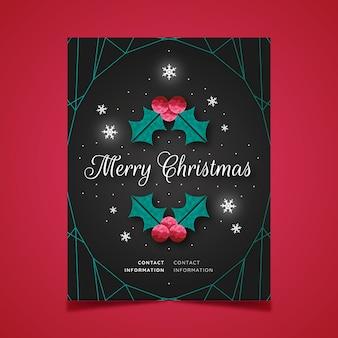 Weihnachtsplakat im polygonalen stil