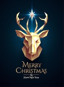 Weihnachtsplakat mit goldenem niedrigem polyhirschkopf und leuchtendem stern zwischen hörnern