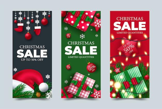Weihnachtsplakatdesignset mit bunten elementen und frohen weihnachtsgrußtext in einem leeren raum.