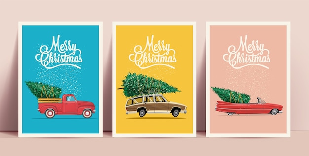 Weihnachtsplakate oder -karten, die mit karikatur-retroautos mit weihnachtsbaum an bord mit frohe-weihnachten-beschriftung auf farbigen hintergründen gesetzt werden