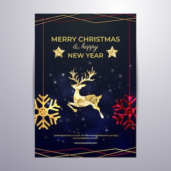 Weihnachtsplakatschablone in der polygonalen art