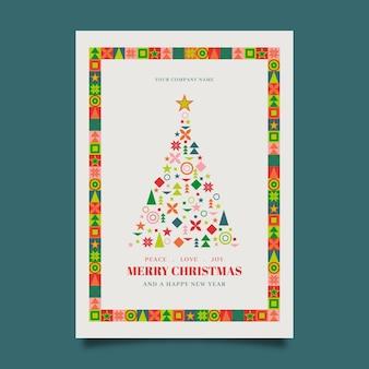 Weihnachtsplakatschablone mit bunten geometrischen formen