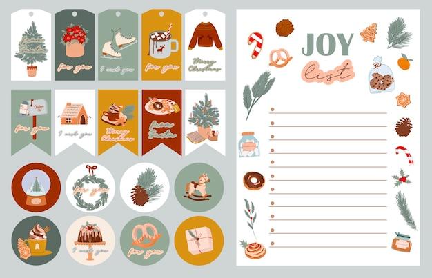 Weihnachtsplaner joy liste geschenkanhänger aufkleber etiketten mit niedlichen winter skandinavischen gemütlichen wintersaison dekor
