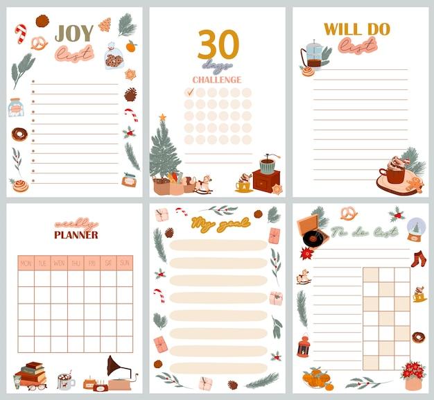 Weihnachtsplaner organisator und zeitplan mit freude liste tage herausforderung wird liste meine ziele liste zu tun liste mit niedlichen skandinavischen winterillustrationen bearbeitbare illustration