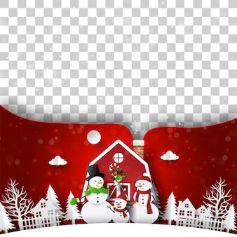 Weihnachtspostkarte des roten weihnachtshauses mit schneemann leerer raum für ihren text oder foto