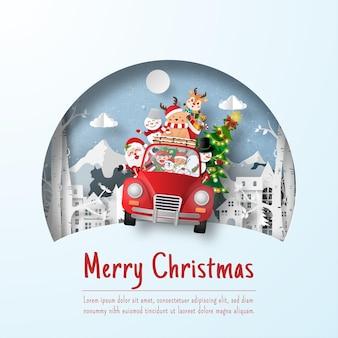 Weihnachtspostkarte des weihnachtsautos im dorf, papierschnittillustration