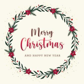 Weihnachtspostkarte mit blumenkranz