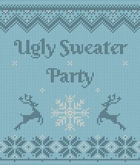 Weihnachtspostkarte mit einladung auf hässlicher pulloverparty