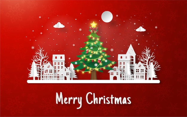 Weihnachtspostkarte mit großem weihnachtsbaum im dorf