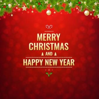 Weihnachtspostkarte mit kugeln und dekorationen