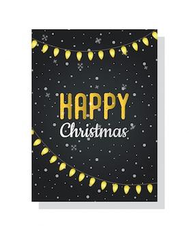 Weihnachtspostkarte mit leuchtender girlande, leuchtlampen
