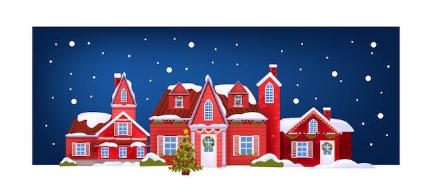 Weihnachtspostkarte mit roten gebäudefassaden, geschmücktem weihnachtsbaum, schnee. festliche architekturfahne des feiertags mit abendlicher stadtstraße. weihnachten und neu 2021 jahre haus noel postkarte