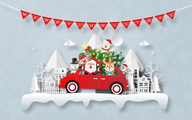Weihnachtspostkarte mit weihnachtsauto im dorf