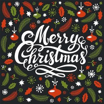 Weihnachtspostkarte mit weihnachtselementen und handgeschriebener kalligraphischer frohe-weihnachten-inschrift