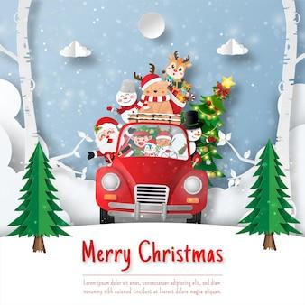 Weihnachtspostkarte von santa claus und freund auf weihnachtsauto