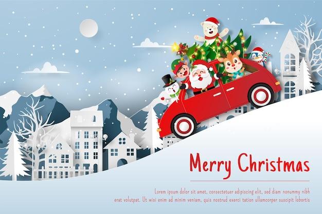 Weihnachtspostkarte von santa claus und freund im weihnachtsauto im dorf