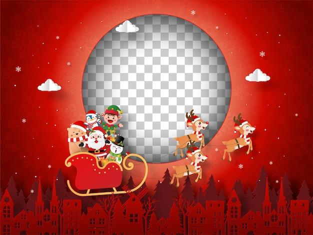 Weihnachtspostkarte von santa claus und freunden auf einem schlitten mit leerem bilderrahmen