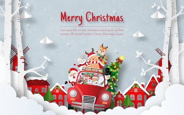 Weihnachtspostkarte von santa claus und freunden mit weihnachtsauto im dorf