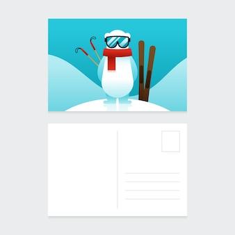 Weihnachtspostkarten-entwurfsschablone mit flachem design der winterlandschaft und eisbär