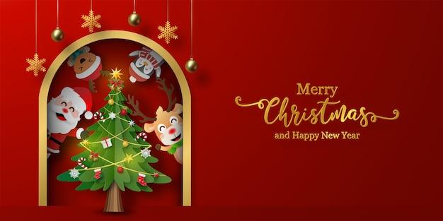 Weihnachtspostkartenbanner des weihnachtsmannes und der freunde mit weihnachtsbaum