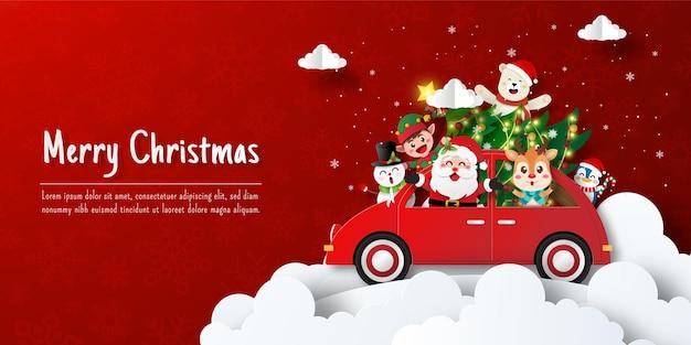 Weihnachtspostkartenbanner von santa claus und freunden auf weihnachtsauto