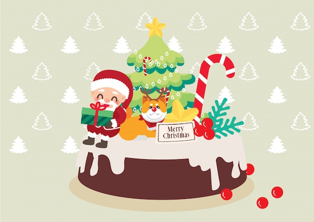 Weihnachtsprotokollkuchen-feierhintergrundvektor