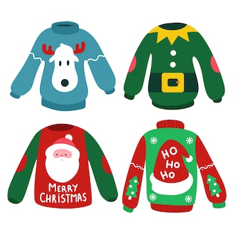 Weihnachtspullover mit rentier, elfe, weihnachtsmannkopf und hut auf weißem hintergrund.