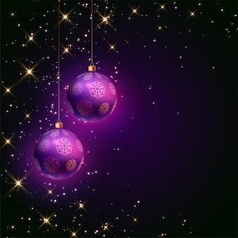 Weihnachtspurpurne ballfestivalkarte mit scheinen