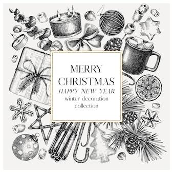 Weihnachtsquadrat-kranzdesign handskizzierte feiertagselemente baumdekoration traditionelle süßigkeiten und