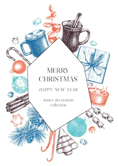 Weihnachtsquadrat-kranzdesign handskizzierter feiertagselementhintergrund