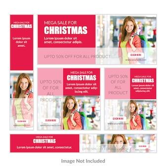 Weihnachtsrabatt-Angebot-Banner-Set