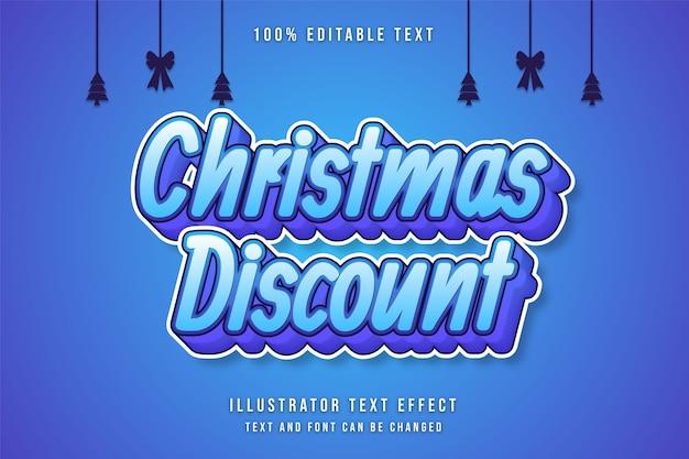 Weihnachtsrabatt bearbeitbarer texteffekt blaue abstufungsstil