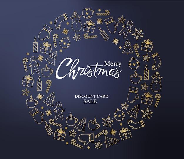 Weihnachtsrabattkarte mit dekorationskranz