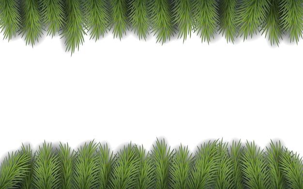 Weihnachtsrahmen mit tannenzweigen mit platz für text. moderne flache illustration. rahmen mit realistischen fichtenzweigen auf weißem hintergrund für grußkarte.