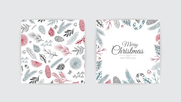 Weihnachtsrahmen mit winterpflanzen. botanische illustration.