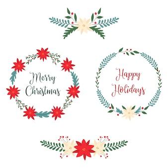 Weihnachtsrahmen und bordüren mit weihnachtssternblüten, blättern und beeren.