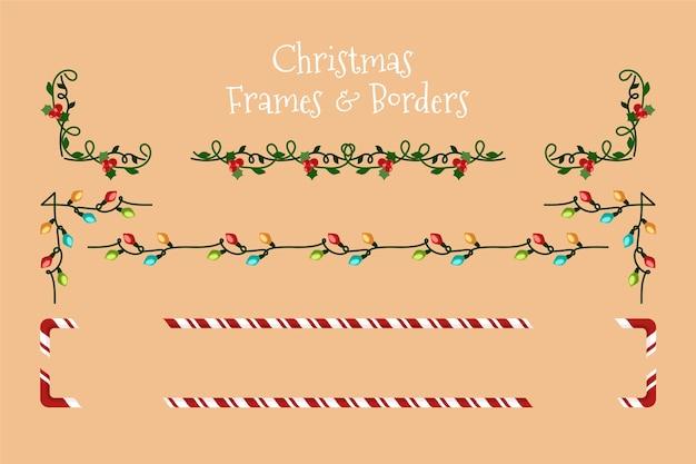 Weihnachtsrahmen und -grenzen des flachen designs
