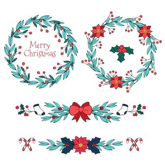 Weihnachtsrahmen und grenzen handgezeichnet