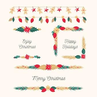 Weihnachtsrahmen und -grenzen im flachen design